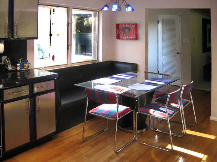 Kitchen with black bench seat